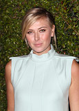With a simple updo and barely there makeup, Maria Sharapova took the most basic approach to beauty last night.