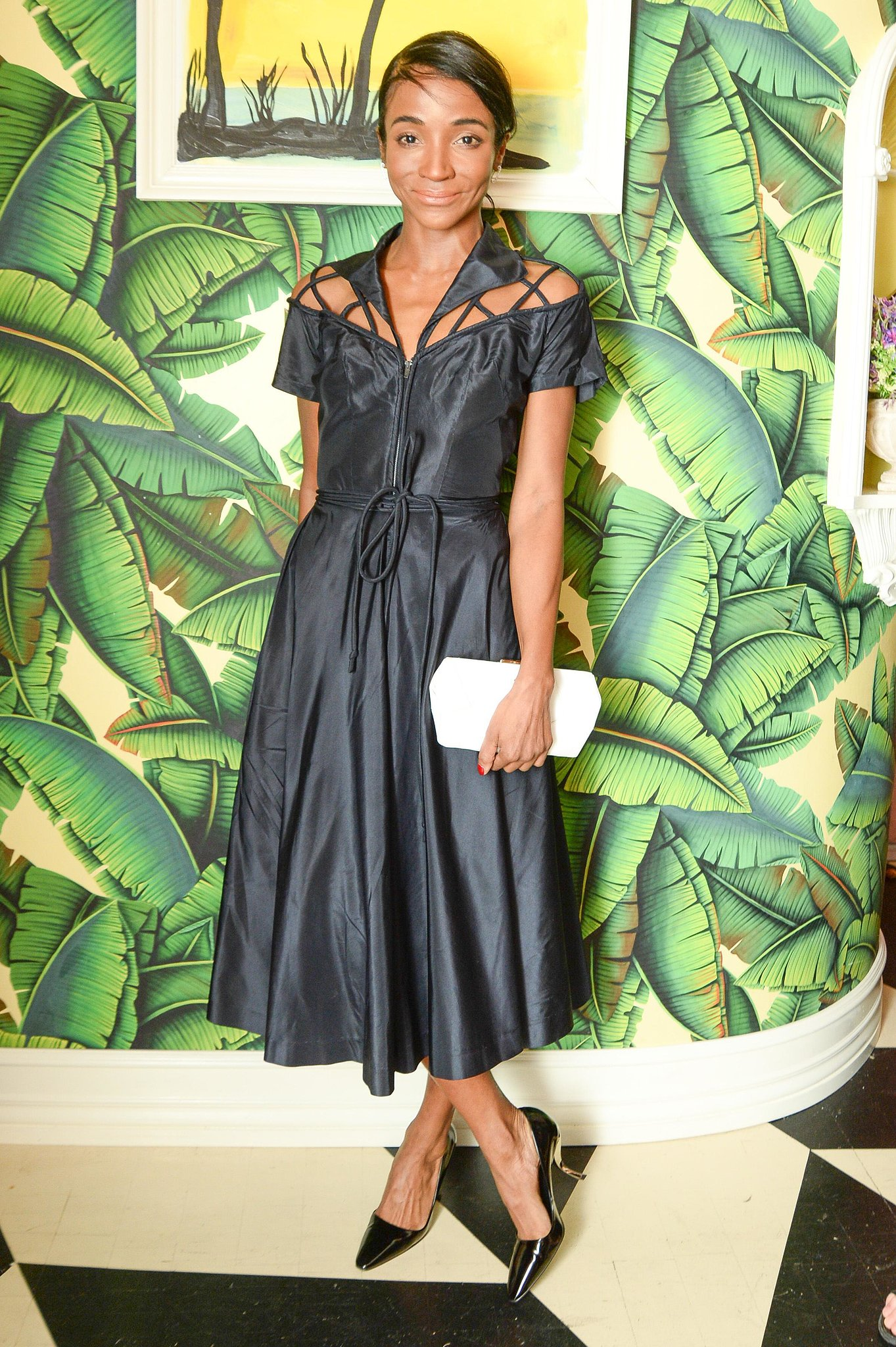 Genevieve Jones joined Atlanta de Cadenet at the Tribeca Grand Hotel in a skin-baring LBD.
