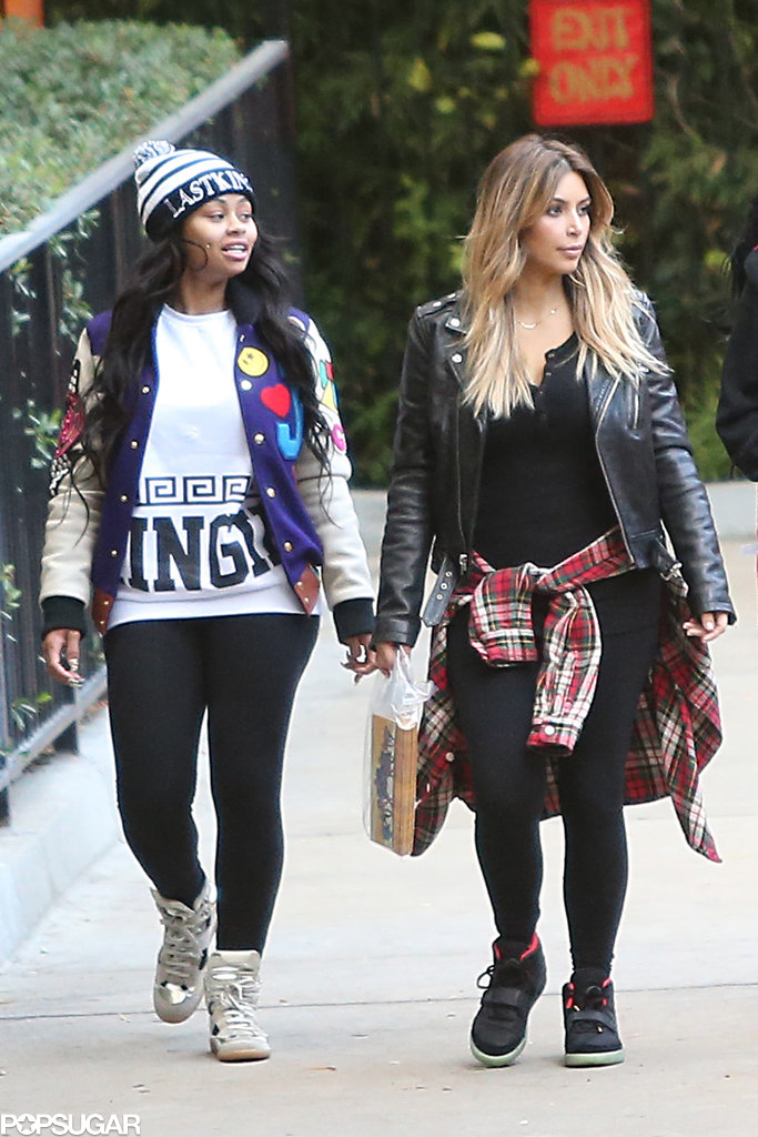 Kim Kardashian walked through the park next to Blac Chyna.