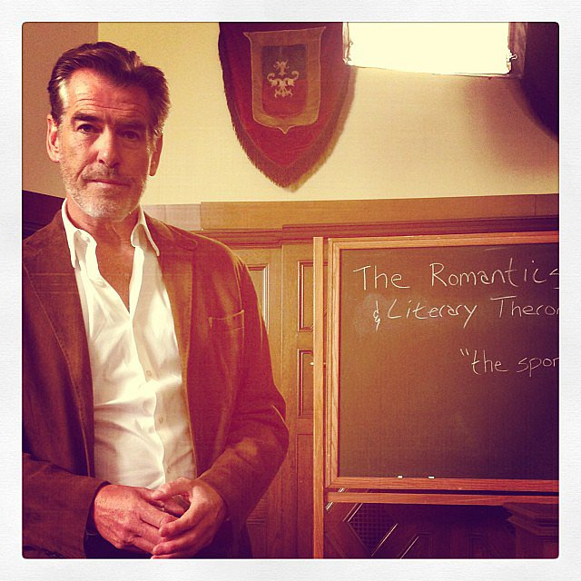 "Jessica Alba snapped a photo of her costar ""Hottie mchotface professor Haig"" (aka Pierce Brosnan) on the set of How to Make Love Like an Englishman. Source: Instagram user jessicaalba"