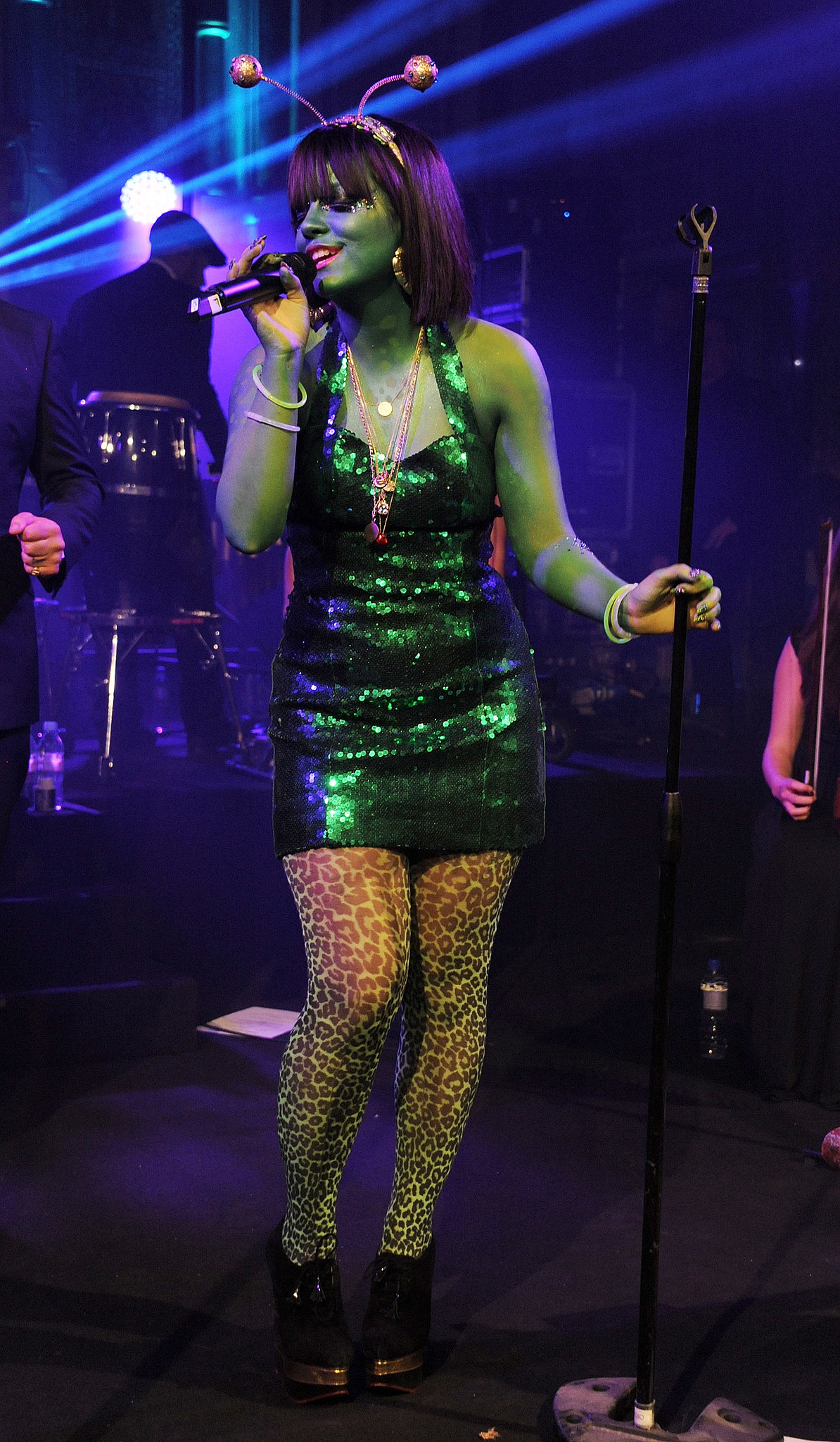 Lily Allen dressed up as an alien for the UNICEF UK Halloween Ball in London.