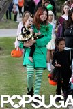 Alyson Hannigan dressed up as a leprechaun while trick-or-treating with her family in LA.