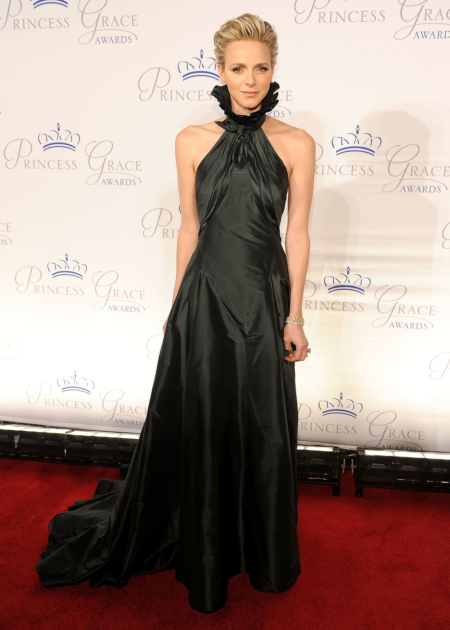 Princess Charlene looked regal for the Princess Grace Awards in a high-neck design.