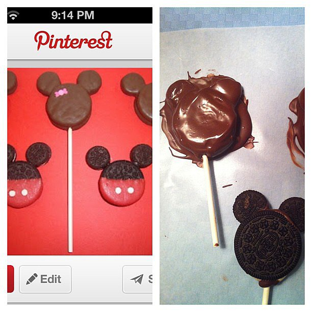 When you envision cute Oreo pops for your daughter's Minnie Mouse party but they end up looking like a child made them.  Source: Instagram user alyssalzukowski