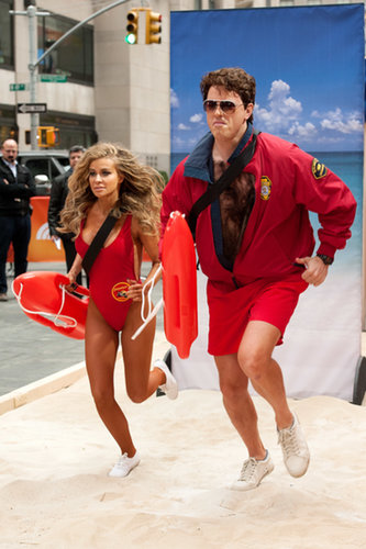 David Hasselhoff Willie Geist and Carmen Electra teamed up for Baywatch costumes.