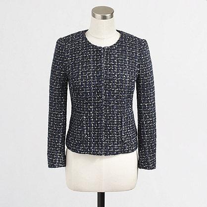Factory cropped tweed blazer