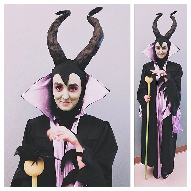 "Associate video producer Paige Hansen brought some evil to the office in a spectacular Maleficent getup. Is it possible she was inspired by ""The Spell Block Tango""? Source: Instagram user popsugarlove"