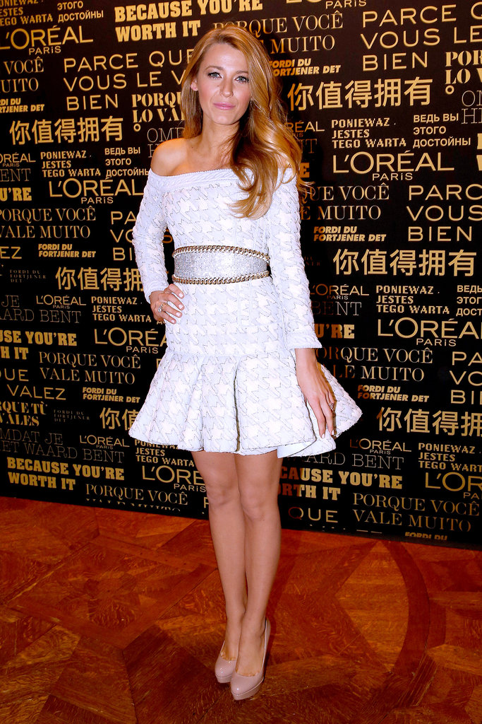 At the announcement of her new role at L'Oréal Paris, Blake Lively's off-the-shoulder Balmain dress had it all: yellow-and-blue tulle houndstooth, a chain border, pearl trim, and an adorable and sculpted silhouette.