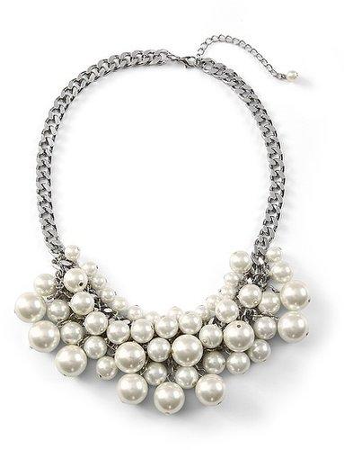 Glass Pearl Bib Necklace