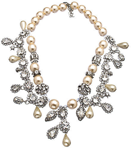 Otazu Silver Swarovski Crystal and Pearl Bib Necklace