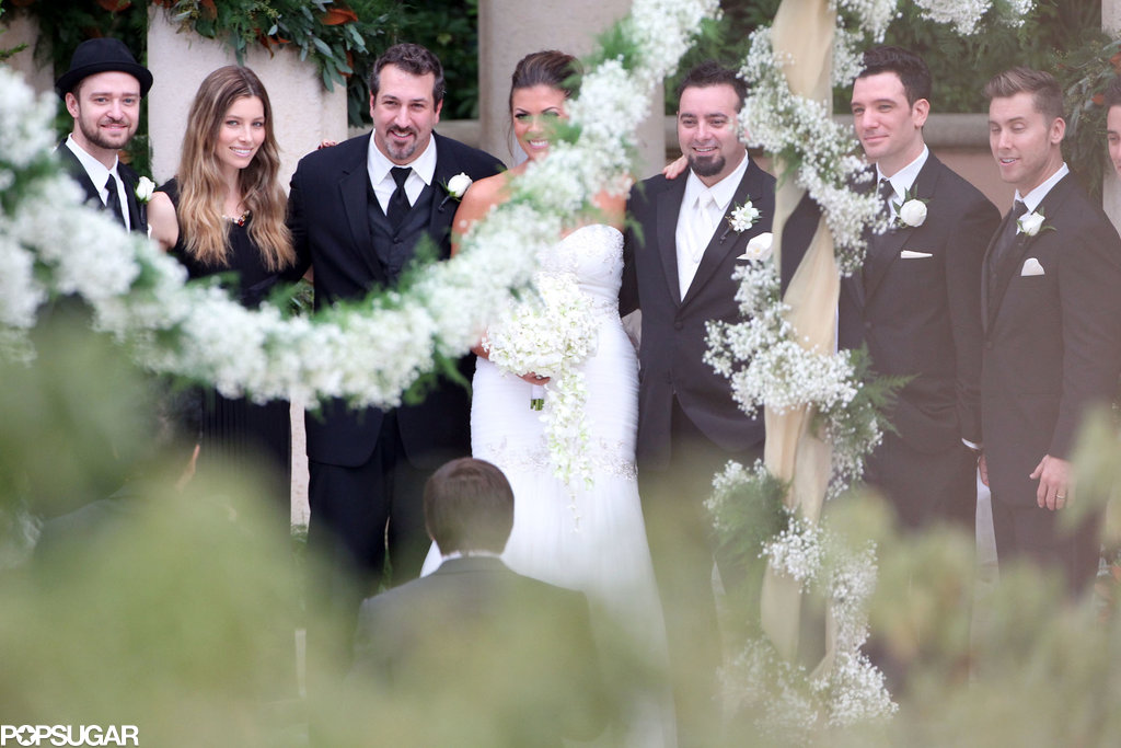 The boys of *NSYNC — Justin Timberlake, JC Chasez, Lance Bass, and Joey Fatone — reunited for Chris Kirkpatrick's wedding in Orlando, FL.