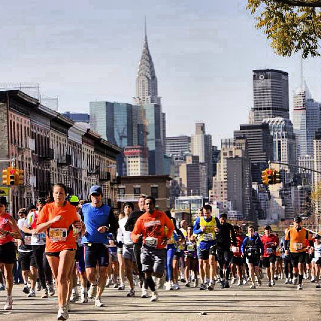 New York City Marathon was under way, as the Chrysler Building kept watch in the background. Source: Instagram user steformand