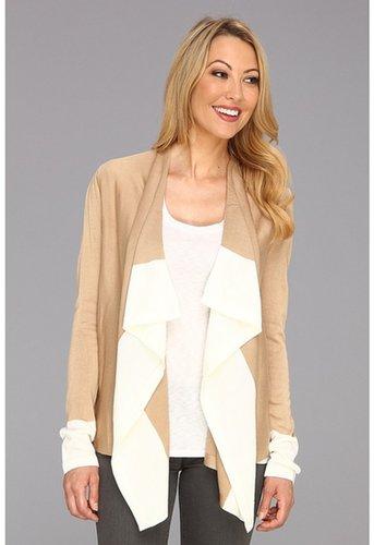Calvin Klein - Drape Front Colorblock Cardigan (Tan Eggshell) - Apparel