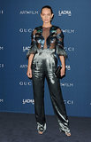 Bucking gala convention, Amber Valletta opted against a dress. Instead, she wore an ultrarevealing feather top and statement-making full pants from Gucci Fall 2013.