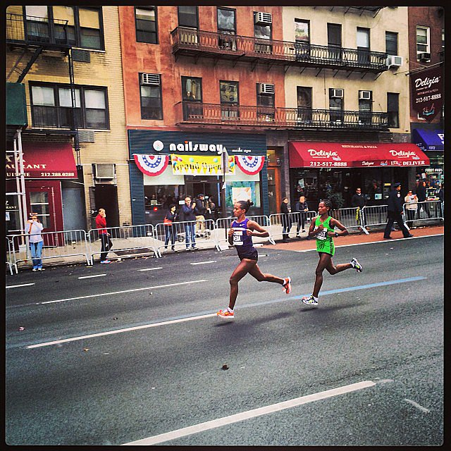 A shot of elite runners Buzunesh Deba and Tigist Tufa Demissie. These two women jetted out from the start and maintained a four-minute lead for a good part of the race. Source: Instagram user jamesfenimoreli