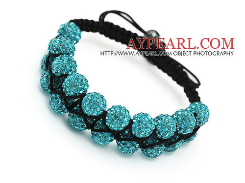 fashion layer 10mm sky blue rhinestone wowen adjustable black drawstring bracelet