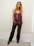 Erin Wasson sparkled in her purple sequin number at Topshop's holiday celebration.