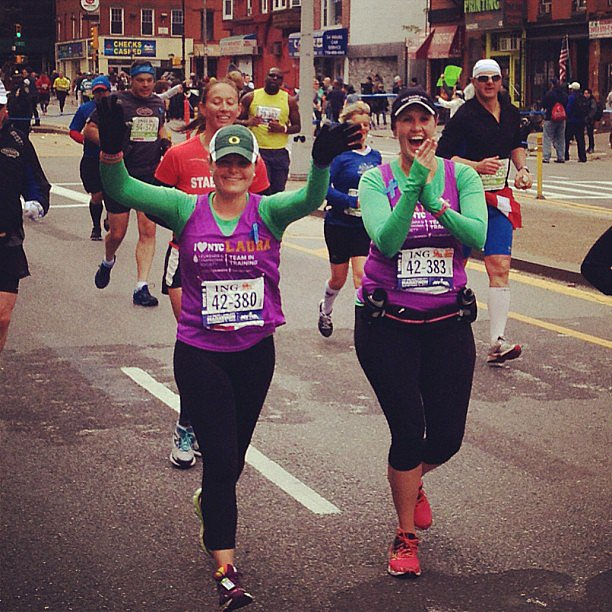 There's nothing quite like seeing a familiar face in the crowd while you're running.  Source: Instagram user laurapellicano