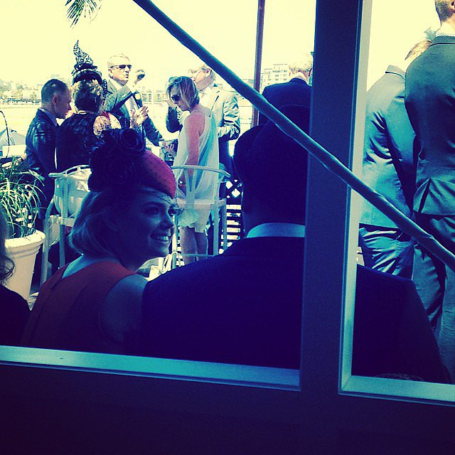 Kate Upton chatted to Buddy Franklin inside the Emirates marquee. Source: Instagram user kimheraldsun