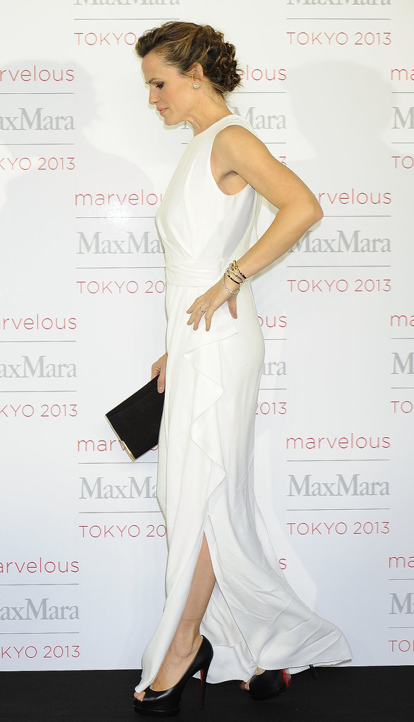 Jennifer Garner wore a white gown at the Max Mara event.