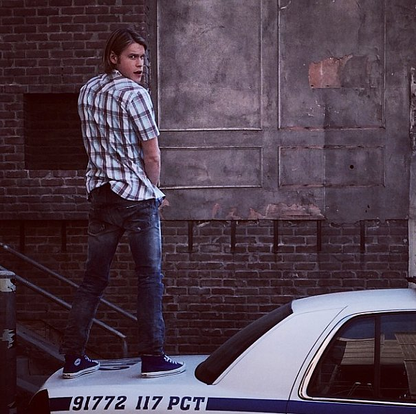 Whether Chord Overstreet was pretending to pee or not, we really hope that was a fake cop car. Source: Instagram user chordover