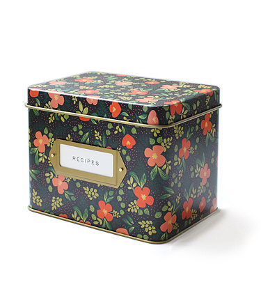 The garden pattern on this Rifle Paper Co. tin recipe box ($34) has a fresh, vintage-looking design.