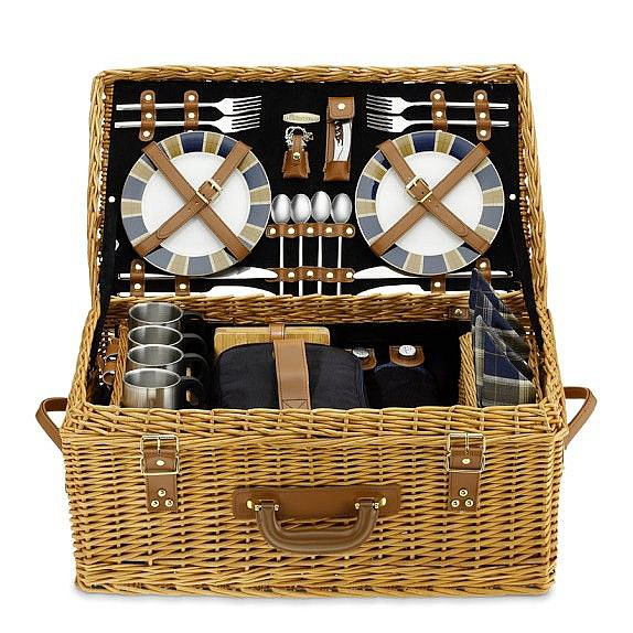 The fun, retro-looking wicker picnic basket ($350) includes all the essentials for a four-person picnic.