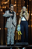 Carrie Underwood and Brad Paisley spoofed Miley Cyrus's VMAs performance.