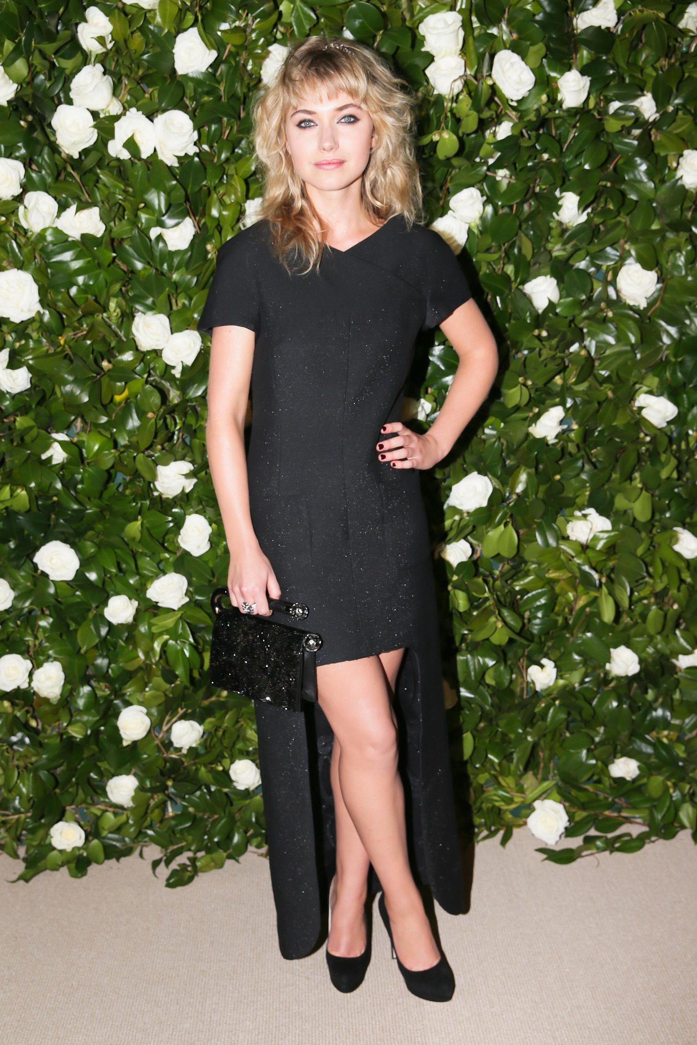 Imogen Poots went asymmetric in a leg-baring Chanel design and the label's sparkling headband while at the MoMA event.