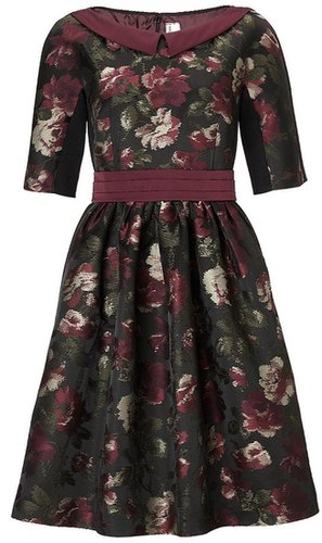 Antonio Marras Bordeaux Floral Jacquard Dress