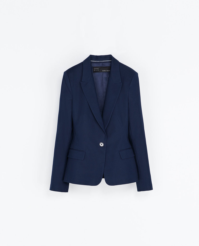 Try mixing this Zara single-button blazer ($50) with black pants for a modern take on the suit.