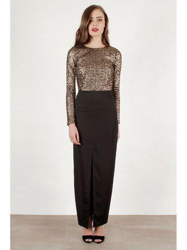 LA LUXE Gold Sequin Long Sleeve Black Maxi Evening Dress - LA LUXE from Lavish Alice UK