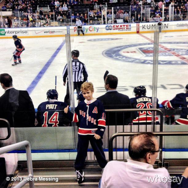 Roman Zelman had the best seat in the house at the New York Rangers game. Source: Instagram user therealdebramessing