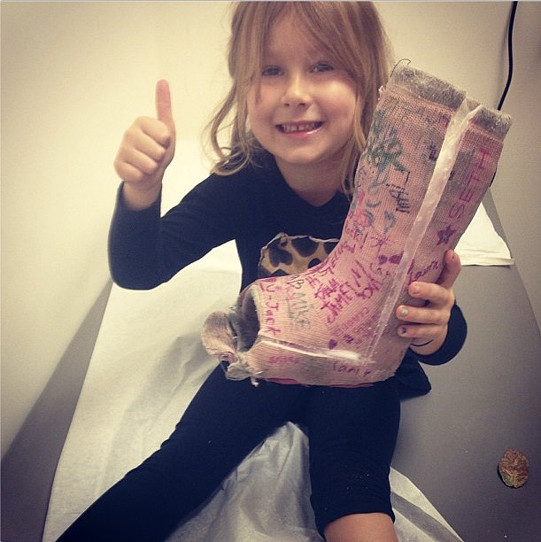 Stella McDermott finally got her cast off after falling off the monkey bars. Source: Instagram user torianddean