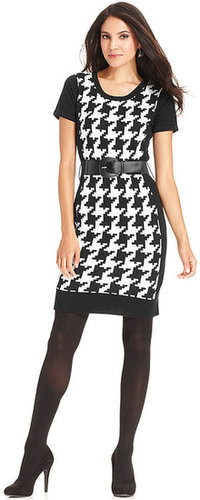 AGB Dress, Short-Sleeve Printed Belted Sweater Dress