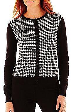 Liz Claiborne Houndstooth Cardigan Sweater
