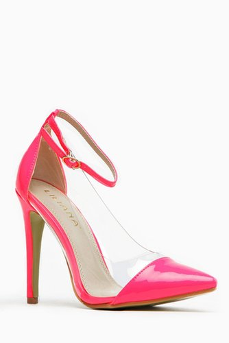 Liliana Pink Pointed Toe Ankle Strap Vinyl Heels @ Cicihot Heel Shoes online store sales:Stiletto Heel Shoes,High Heel Pumps,Wom