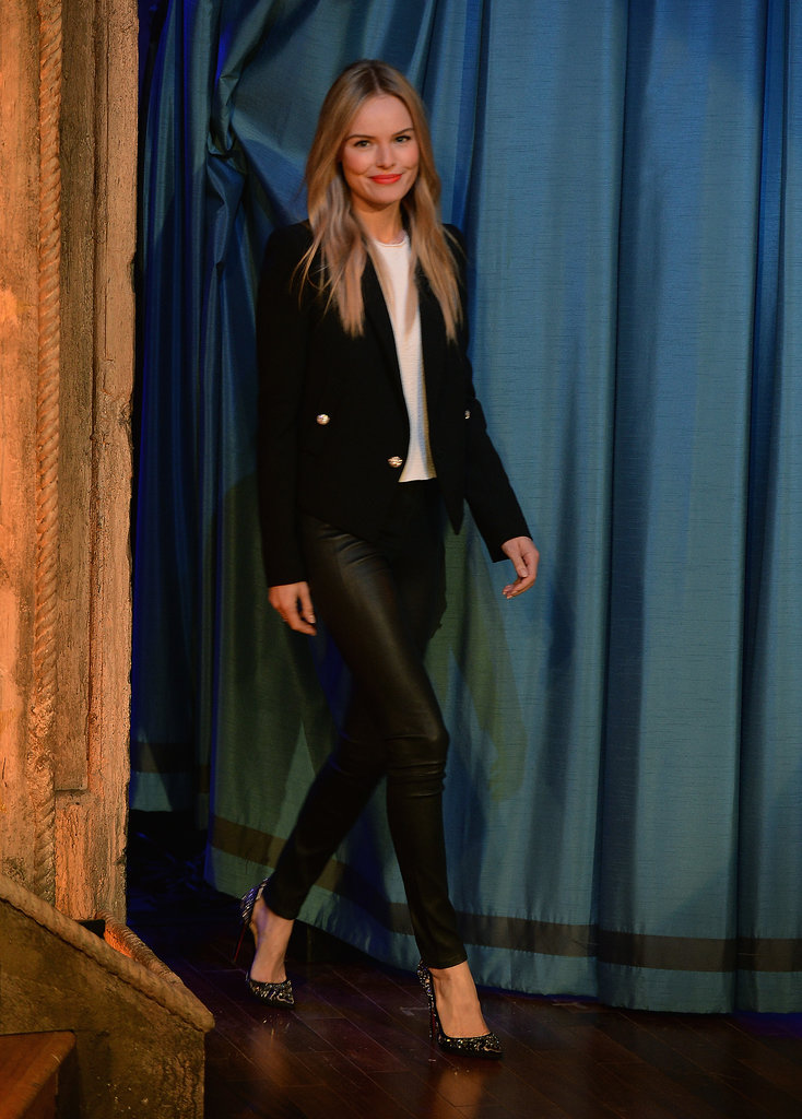 For her appearance on Late Night With Jimmy Fallon, Kate Bosworth paired a black military blazer with the sleekest piece of all: Topshop leather leggings.