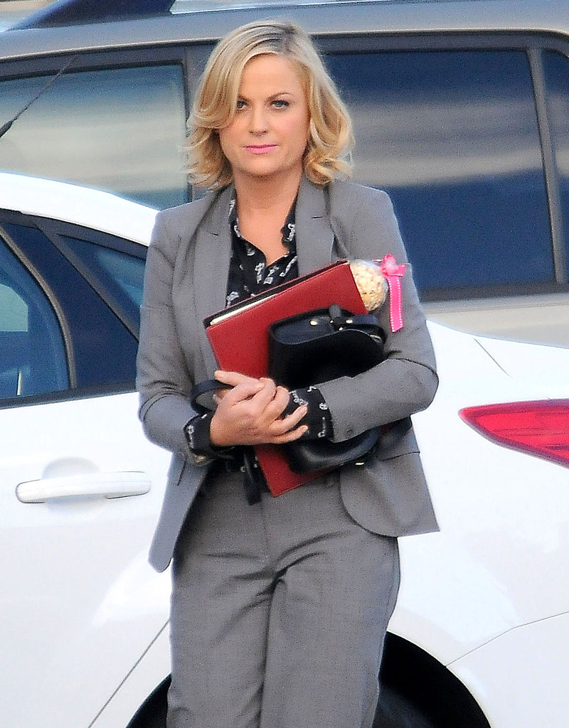 Amy Poehler was in LA on Thursday to film Parks and Recreation