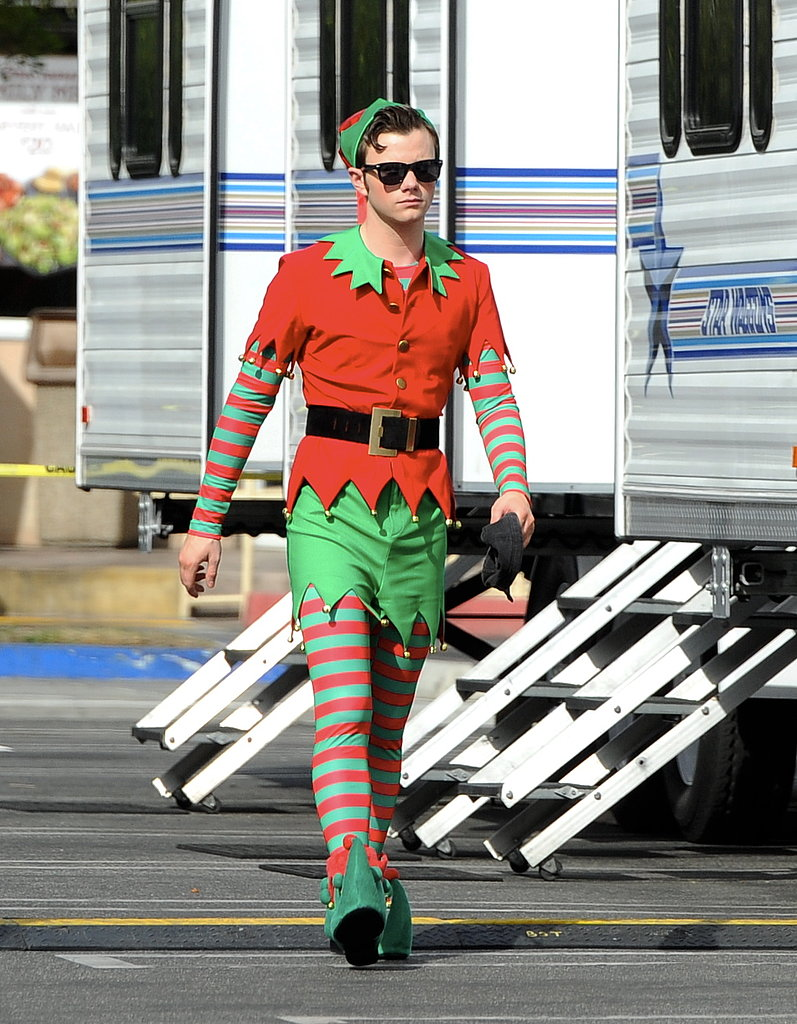 Chris Colfer got into the Christmas spirit on the LA set of Glee on Thursday.