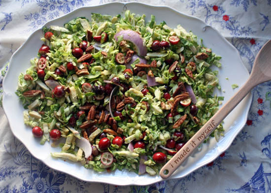 Shaved Brussel Sprouts Salad with Fresh Cranberries