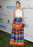 Nicole Richie wore a striped skirt to the Baby2Baby Gala in LA.