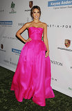 Jessica Alba wore a hot-pink Reem Acra gown to the Baby2Baby Gala in LA.