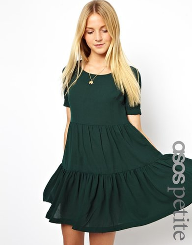 ASOS PETITE Exclusive Swing Dress With Tiered Detail