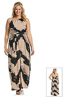 Tea Rose Plus Size Sleeveless Halter Maxi Dress