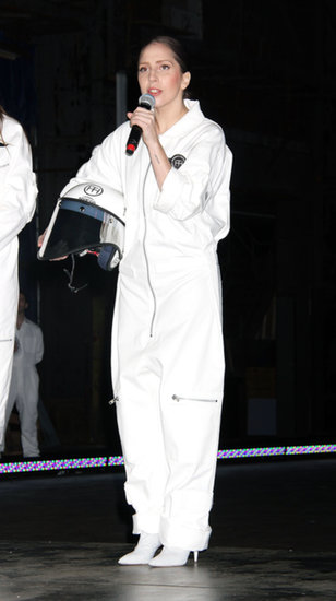 At ArtRave, her official release party for Artpop, Lady Gaga showed galactic pride (did you hear that she's going to perform in space?!) in an astronaut-inspired jumpsuit — paired with heels, of course.