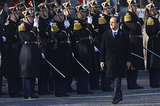 French President Francois Hollande passed by troops during the Armistice Day ceremonies in Paris.