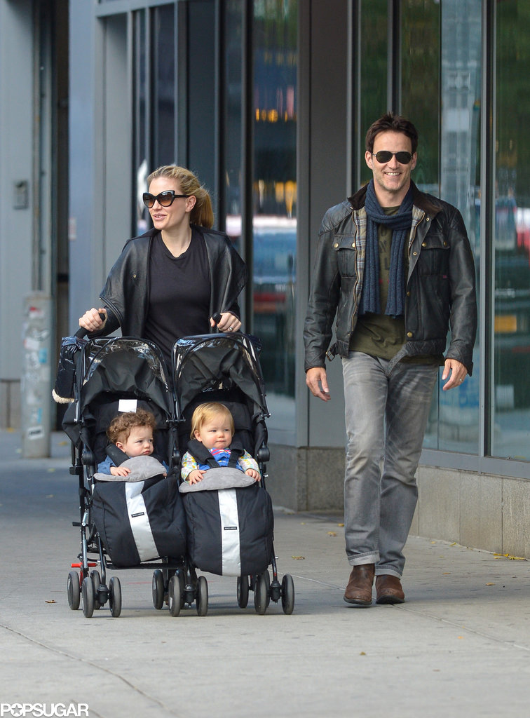 Anna Paquin and Stephen Moyer took their twins, Poppy and Charlie, out for a Sunday stroll in NYC.