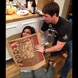 Kaling got some help from Barinholtz and a pizza box. Source: Instagram user mindykaling