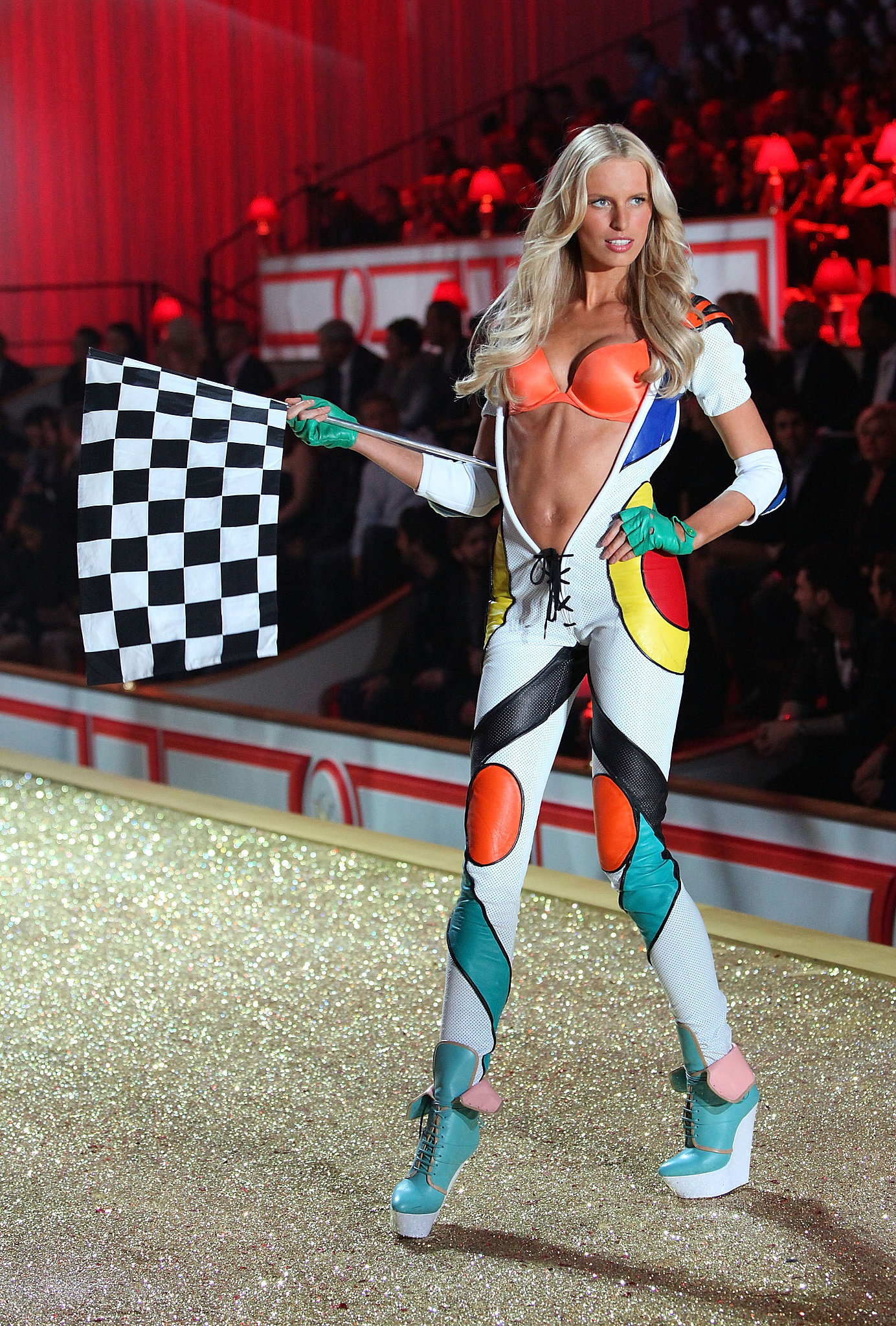 Karolina Kurkova sporty a sexy racing suit in 2010.